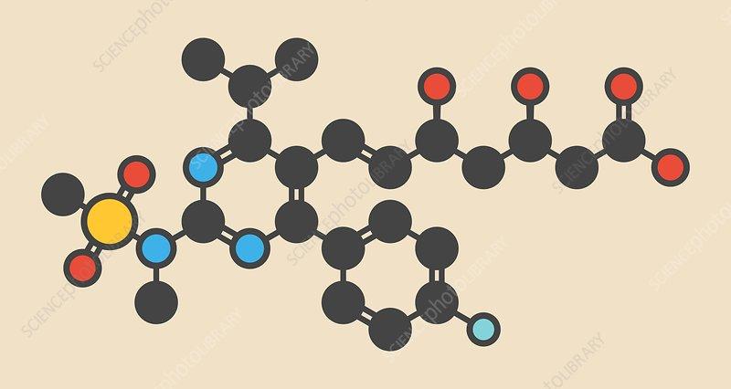 Rosuvastatin cholesterol drug molecule