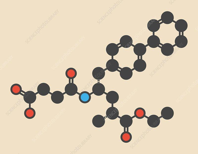 Sacubitril hypertension drug molecule