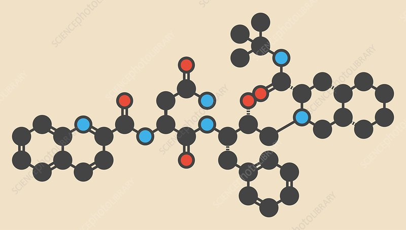 Saquinavir HIV drug molecule