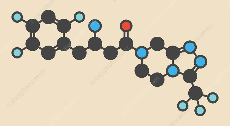 Sitagliptin diabetes drug molecule