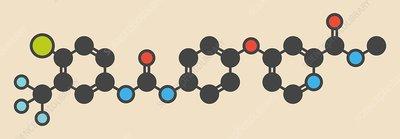 Sorafenib cancer drug molecule