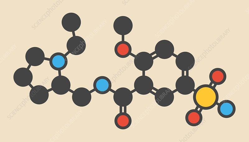 Sulpiride antipsychotic drug molecule
