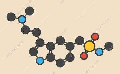 Sumatriptan migraine drug molecule
