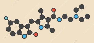 Sunitinib cancer drug molecule