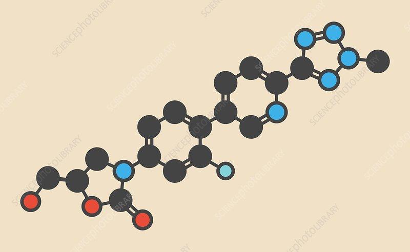 Tedizolid antibacterial drug molecule