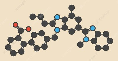 Telmisartan hypertension drug molecule
