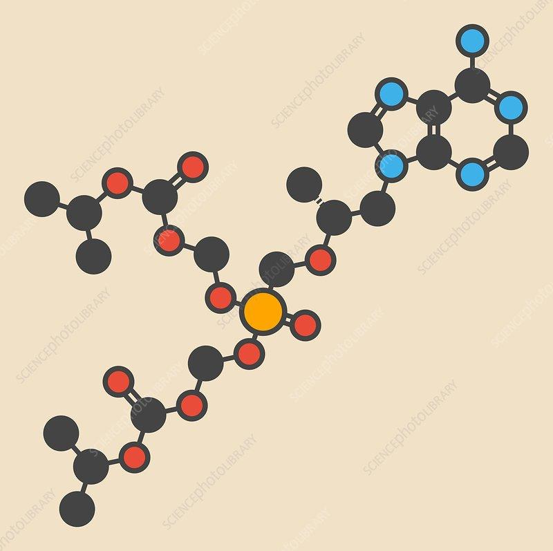 Tenofovir disoproxil HIV drug molecule