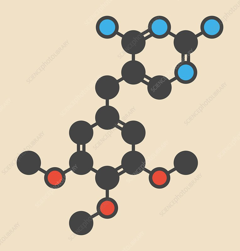 Trimethoprim antibiotic drug molecule