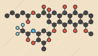 Valrubicin bladder cancer drug molecule