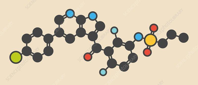 Vemurafenib melanoma drug molecule