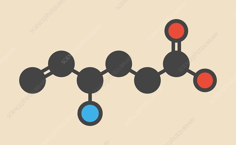 Vigabatrin epilepsy drug molecule
