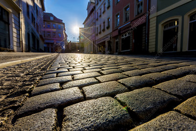 Cobbled street and sunlight