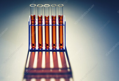 Red liquid in test tubes