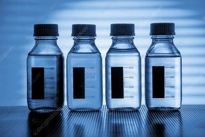 Transparent liquids in plastic bottles