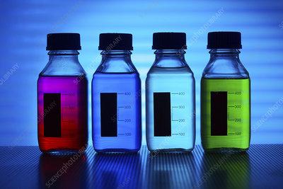 Coloured liquids in plastic bottles
