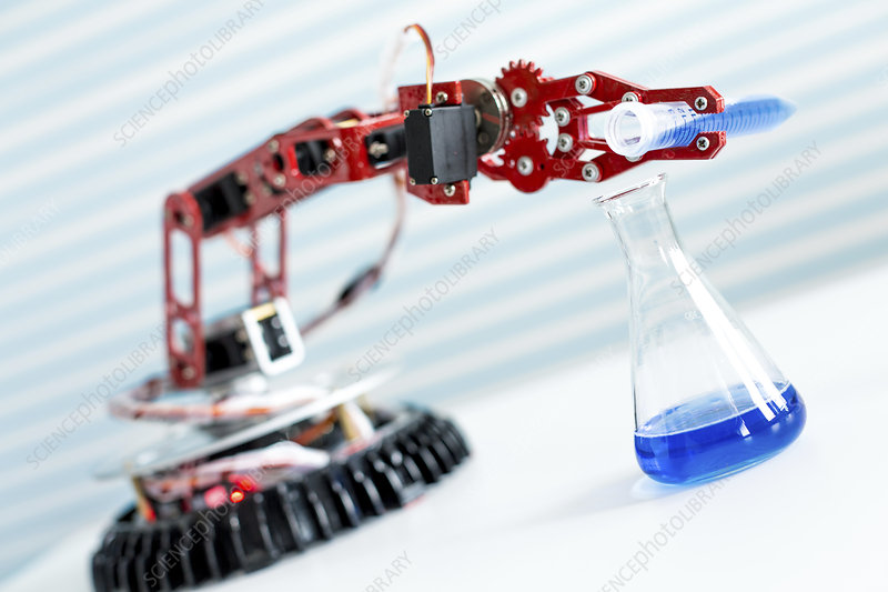 Robotic arm pouring chemical