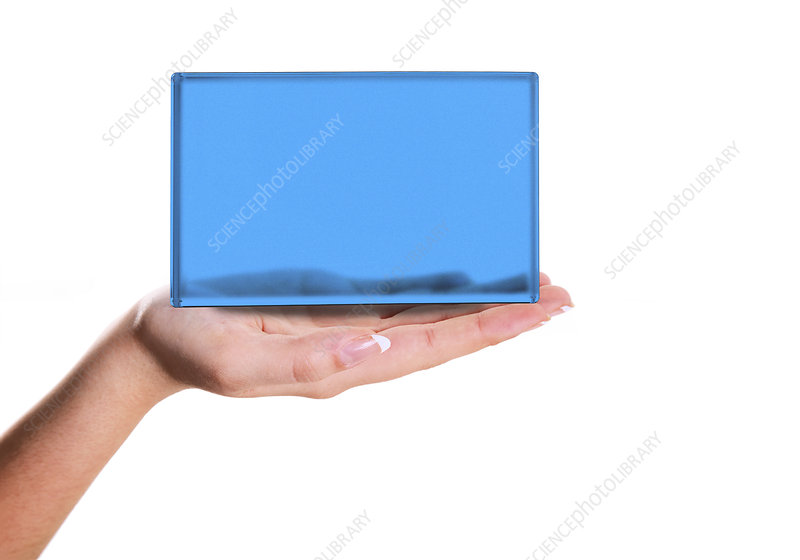Person holding blue screen