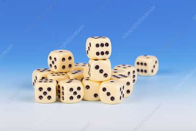 Dice against a blue background