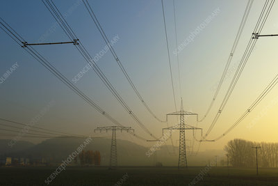 Power lines in mist