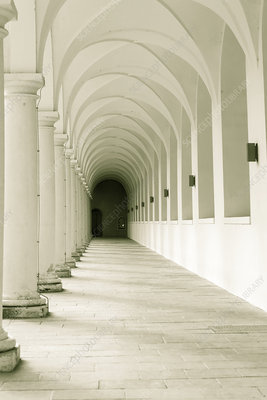 View along corridor with arches