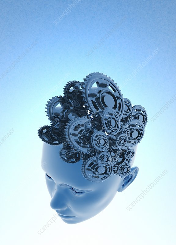 Human head with cogs, illustration