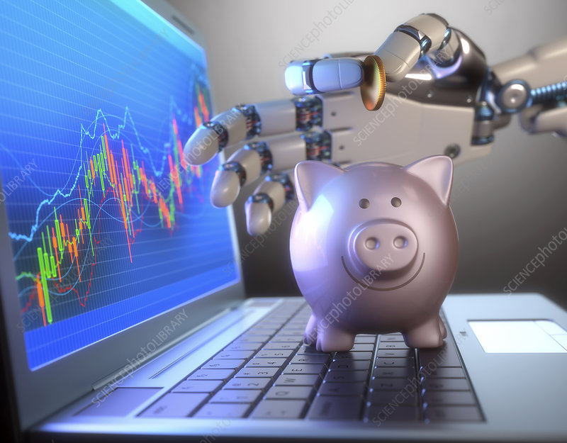 Piggy bank and robotic hand, illustration