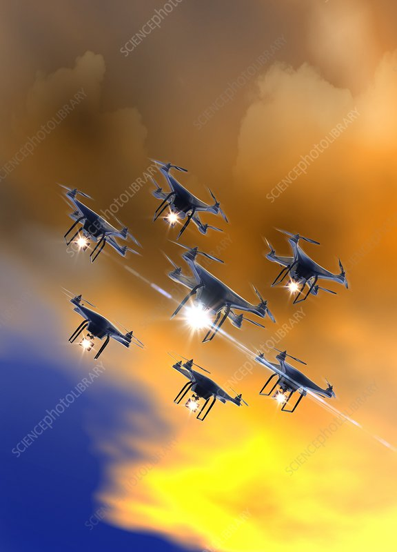 Drones flying in the sky, illustration