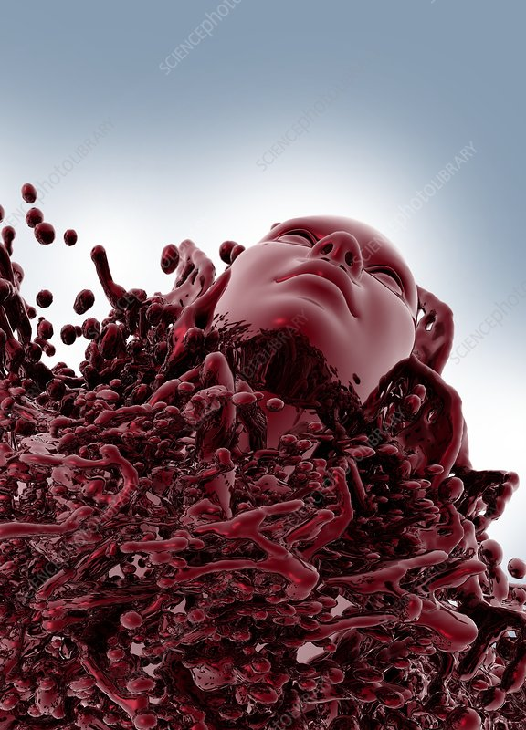 Human face in red liquid, illustration