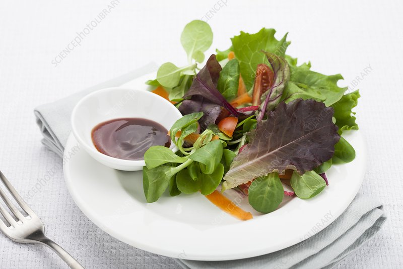 Plate of salad and sauce