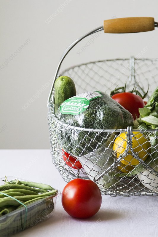 Fresh vegetables in a metal basket