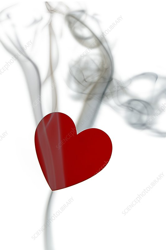 Red heart with smoke