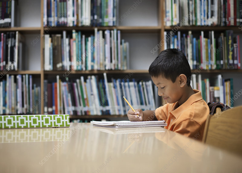 A boy at a table in a school library