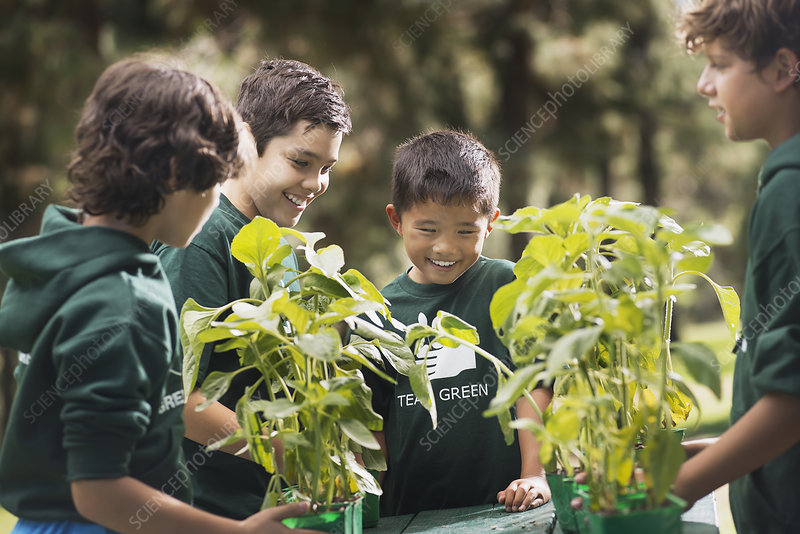 Children with plants and flowers