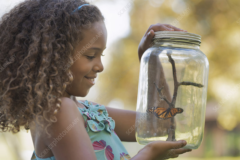 A girl holding a butterfly in a jar