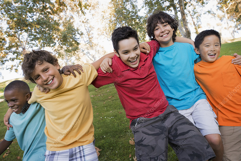 Five children boys running