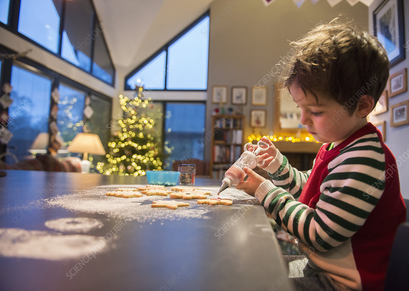 A boy decorating Christmas cookies