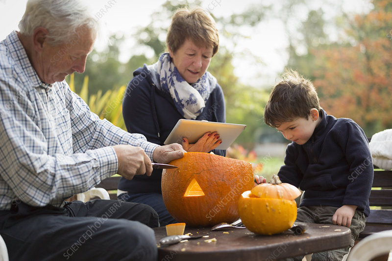 Creating pumpkin lanterns for Halloween