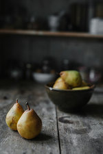 Fresh pears on a kitchen table