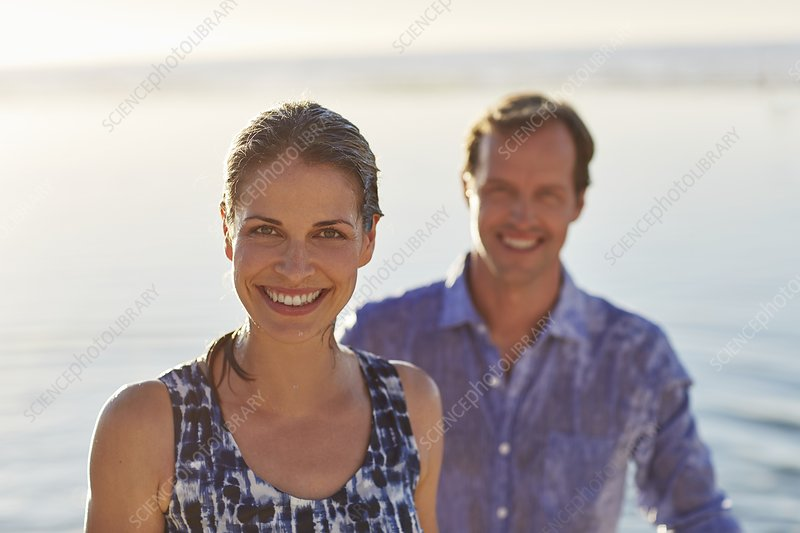Couple smiling towards camera