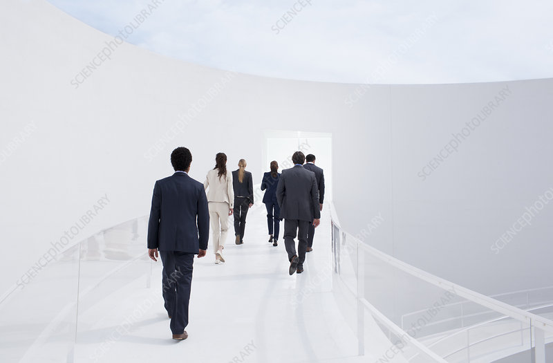 Business people walking toward doorway