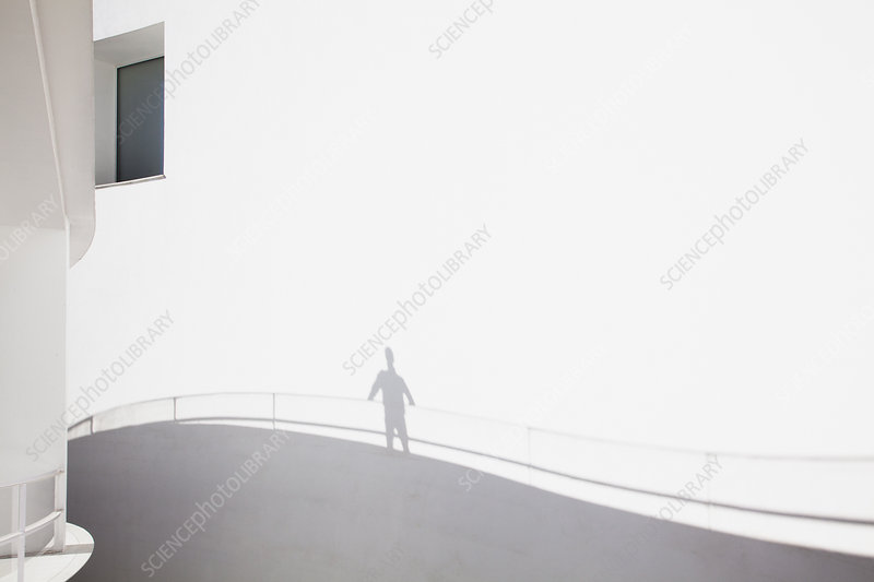 Shadow of businessman leaning on railing
