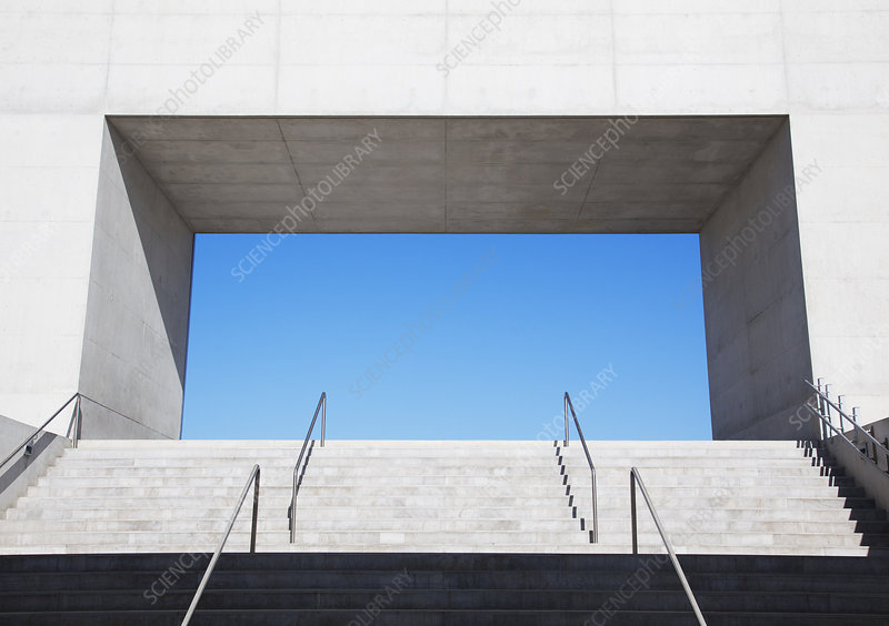 Concrete steps leading to blue sky