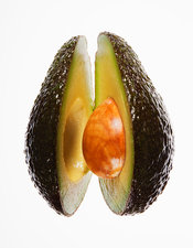 Close up of split avocado