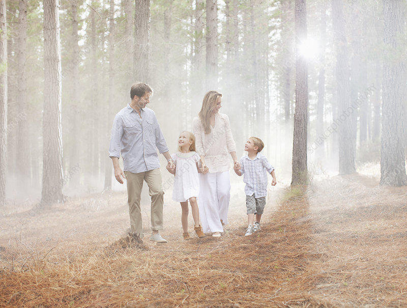 Happy family walking in sunny woods