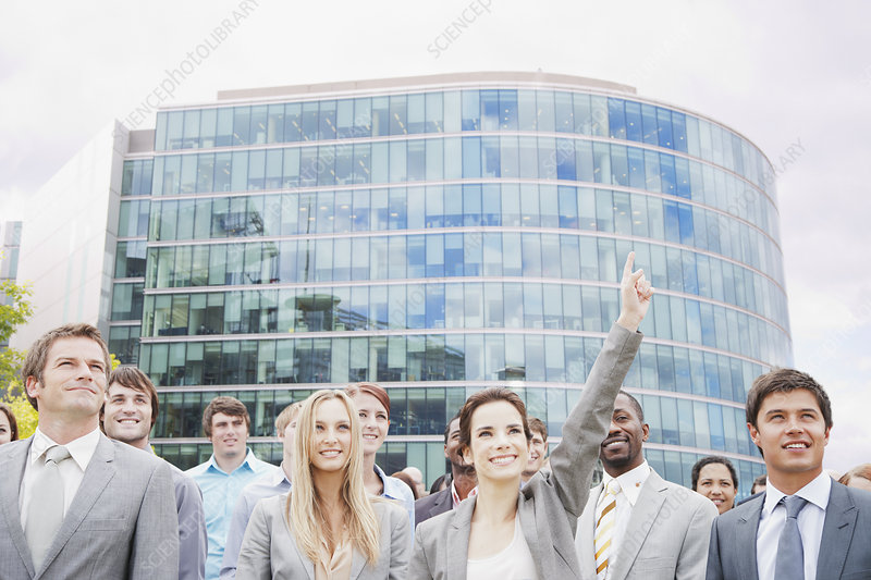 Crowd of smiling business people