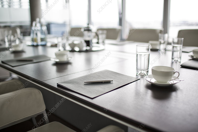 Table set for meeting in office