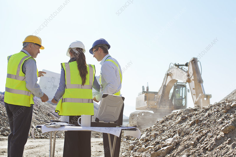Business people talking on site