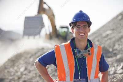 Worker smiling in quarry