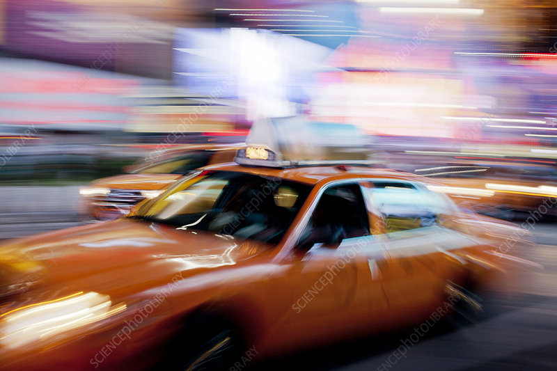 Blurred view of taxi