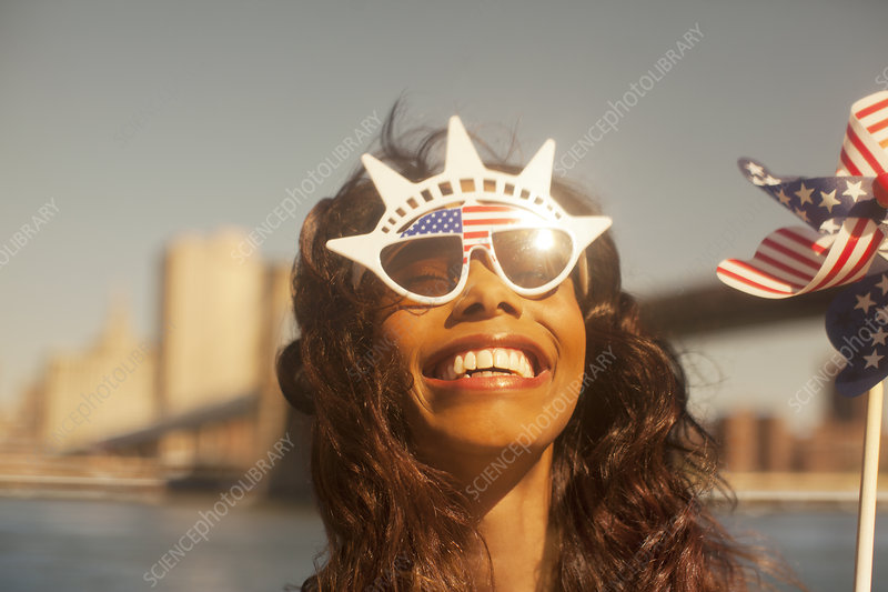 Woman with novelty sunglasses